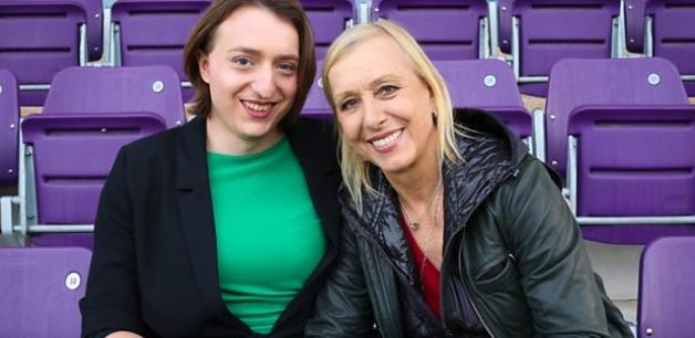 Naomi Reid, who plays for an LGBT-friendly football team, with Martina Navratilova (Image: BBC)