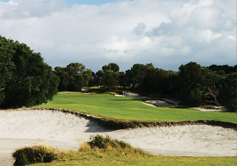 The 401 metre par 5, 17th hole on the West Course at Royal Melbourne Golf Club, which plays as the 9th hole on the tournament Composite Course, in Black Rock, Melbourne, Victoria, Australia.