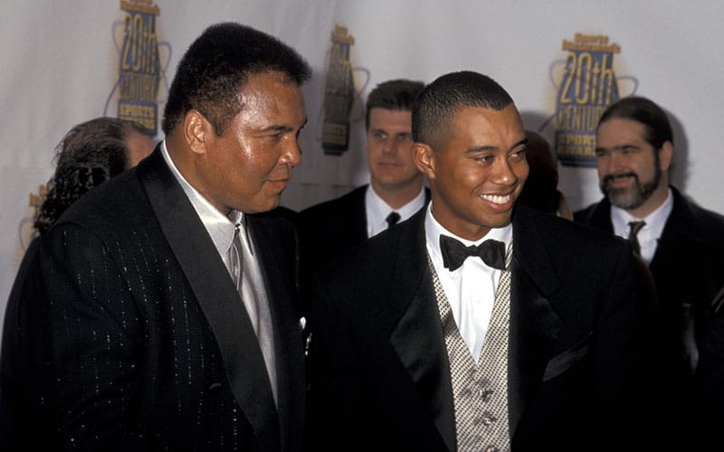 American Idols - Muhammad Ali and Tiger Woods during Sports Illustrated 20th Century Sports Awards at Madison Square Garden in New York City, NY, United States. (Photo by Ron Galella/Ron Galella Collection via Getty Images)