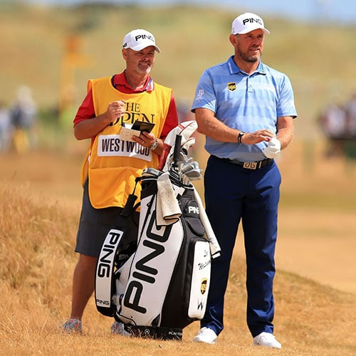 Caddy Billy Foster with Lee Westwood